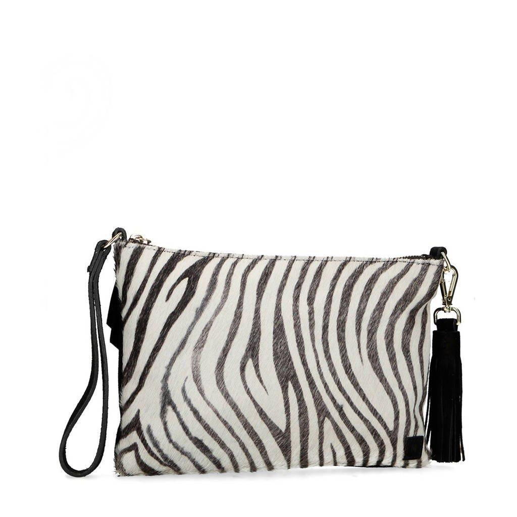 Manfield   suède tas zebraprint, Zwart/wit