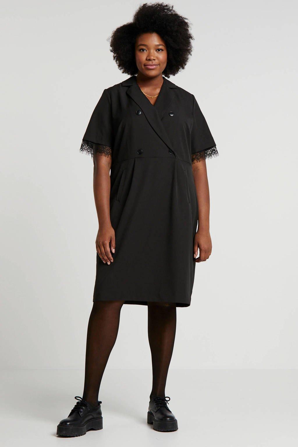 Yesta blazerjurk met kant zwart, Zwart