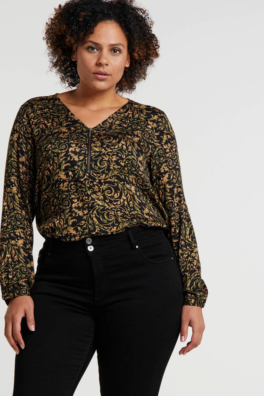 Yesta top met all over print groen/zwart/bruin, Groen/zwart/bruin