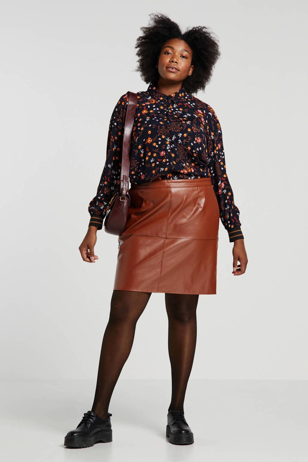 Yesta gebloemde blouse zwart/multi, Zwart/multi
