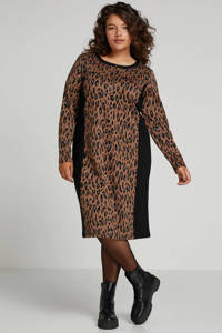 Yesta fijngebreide jersey jurk met panterprint bruin/multi, Bruin/multi