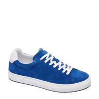 Van Lier   suède sneakers blauw, Blauw