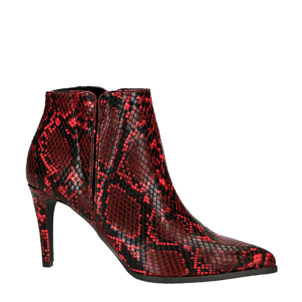 VERO MODA   enkellaarzen slangenprint rood, Rood/zwart