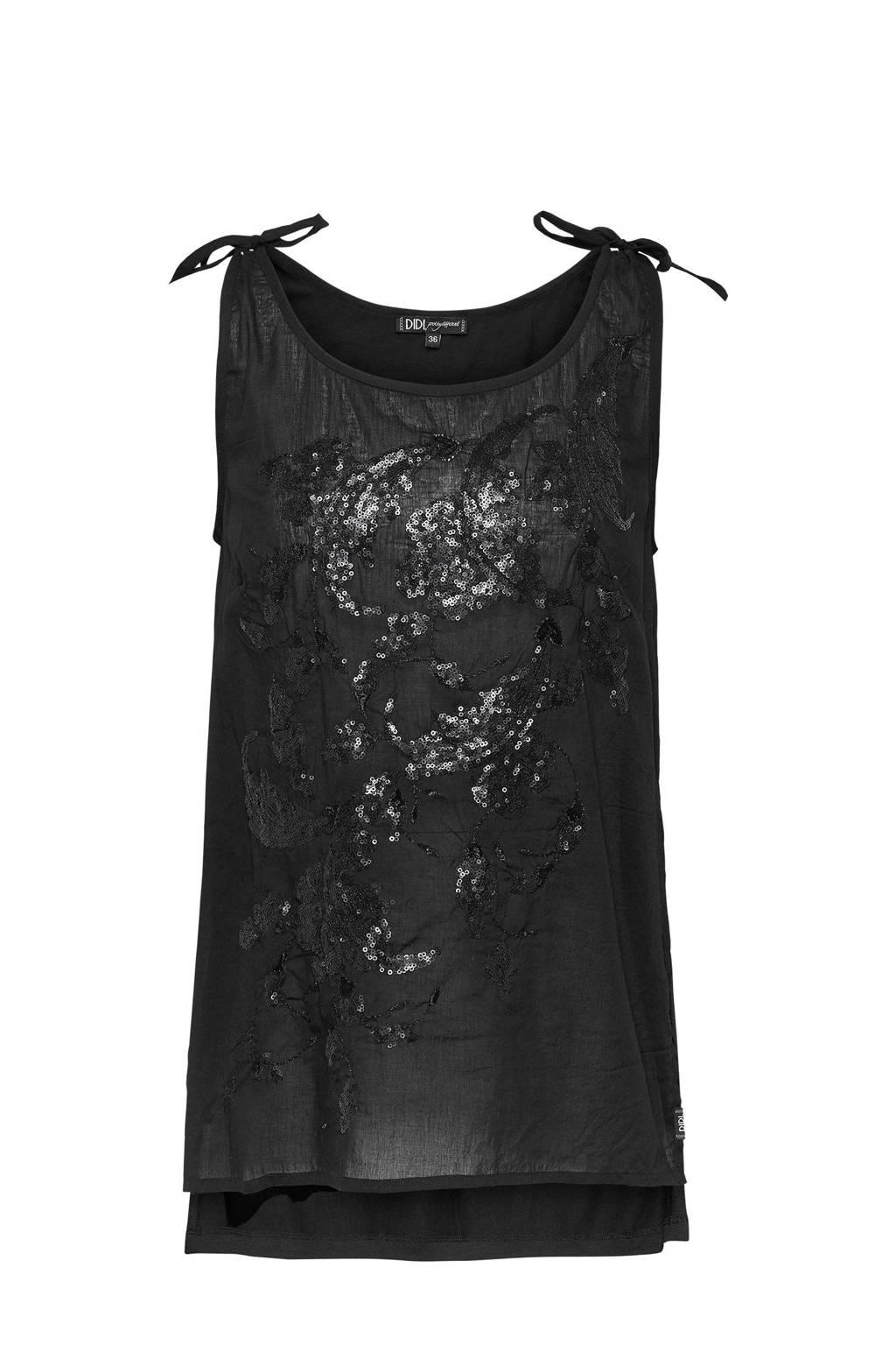 Didi semi-transparante singlet met pailletten zwart, Zwart