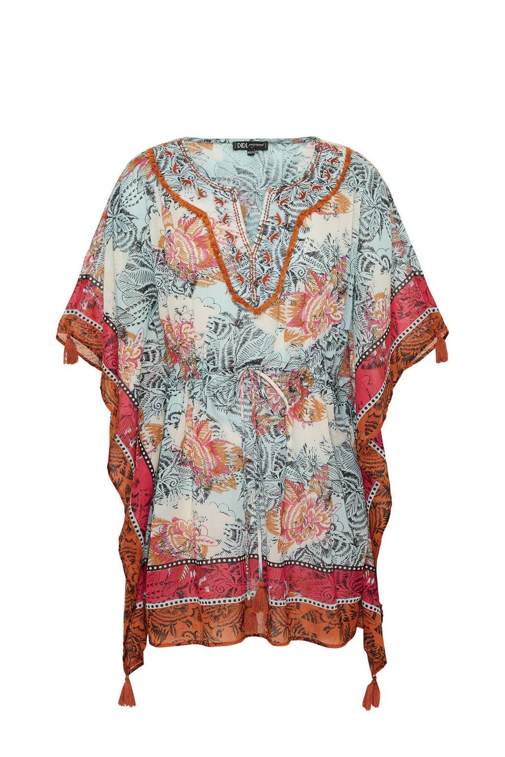 Didi kimono met all over print en franjes grijs, Grijs