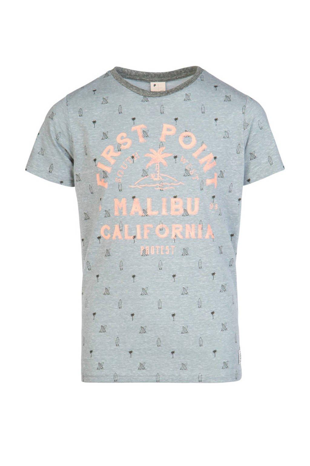 Protest T-shirt Janis JR lichtblauw/oranje/grijs, Aqua Gray
