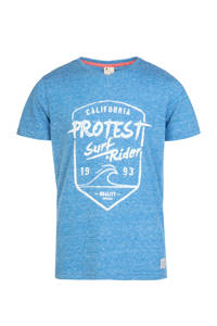Protest T-shirt Everton met printopdruk blauw melange, Medium blue