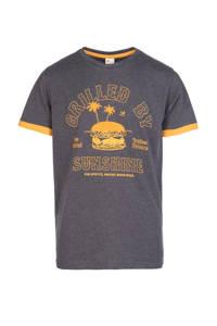 Protest T-shirt Kevlar JR met printopdruk antraciet/geel, Deep Grey