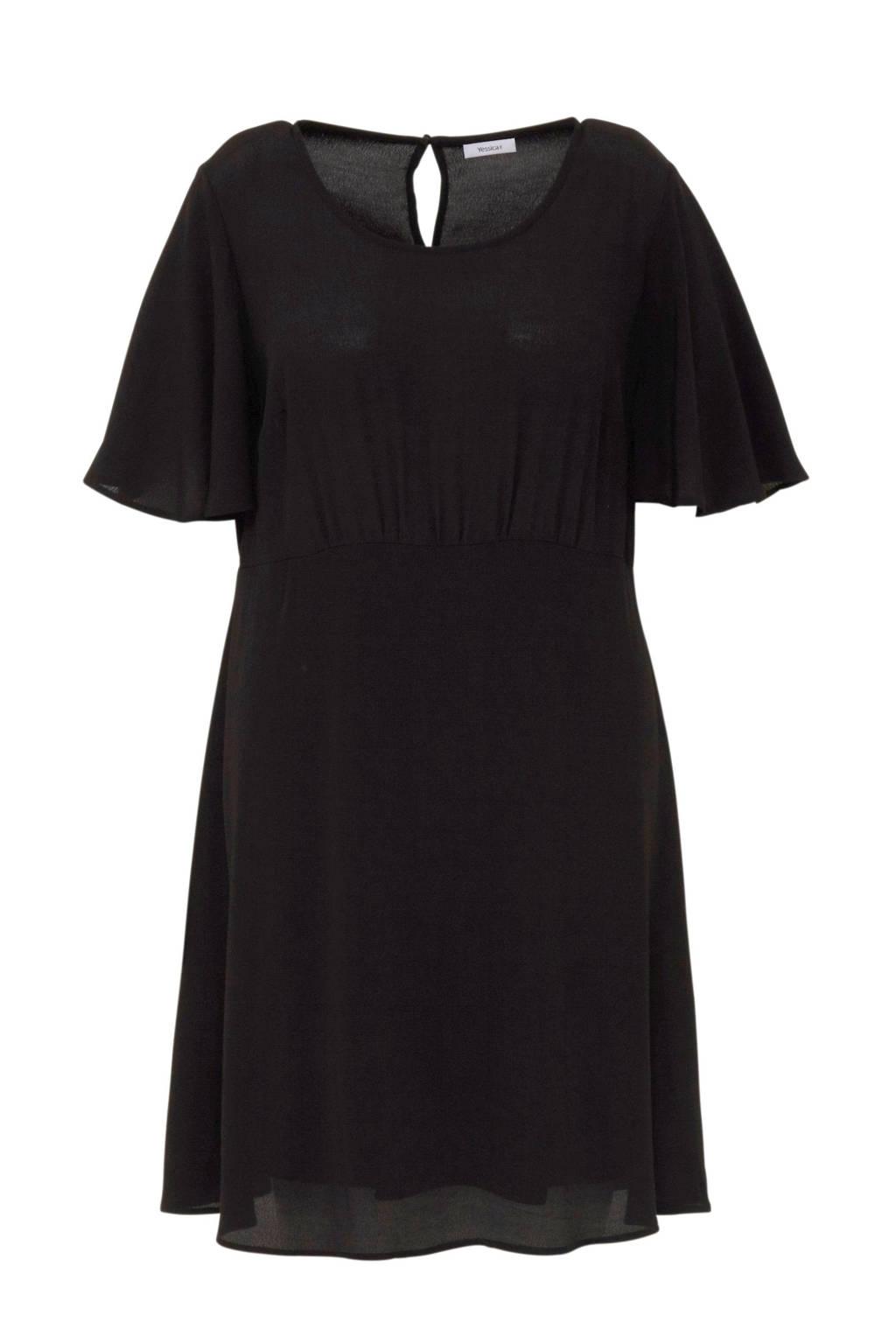 C&A XL Yessica jurk met volantmouwen, Zwart