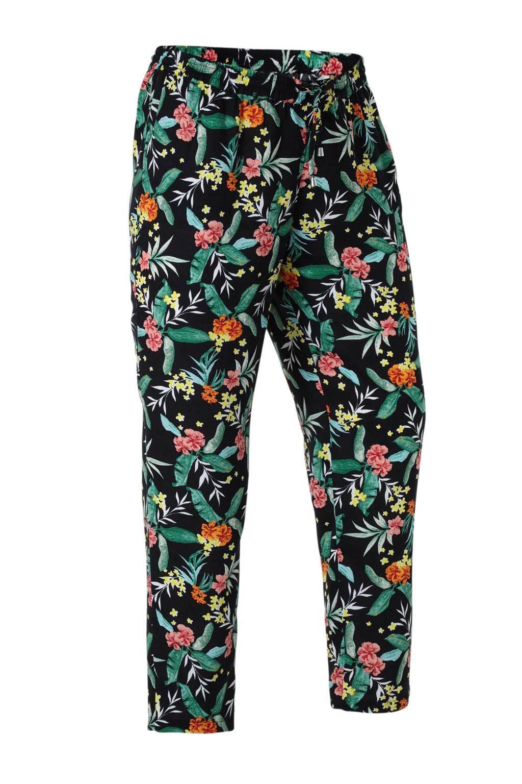 C&A XL Yessica loose fit broek met bladprint zwart, Zwart