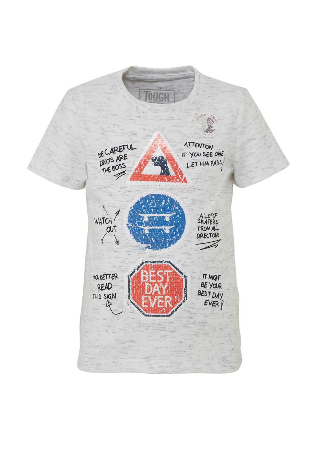 C&A Palomino T-shirt met tekst en pailletten lichtgrijs melange, Lichtgrijs melange