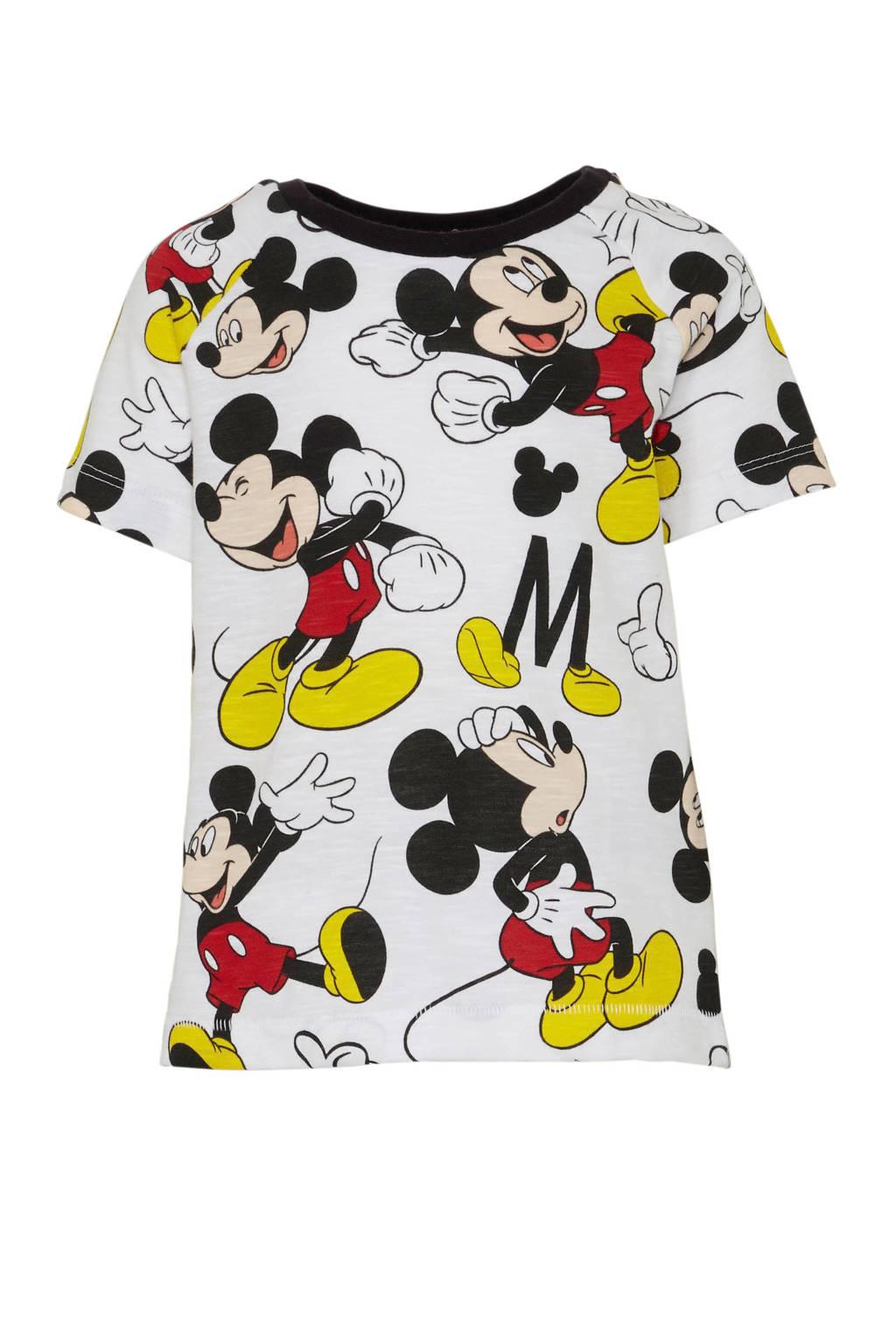 Disney @ C&A Mickey Mouse T-shirt met all over print wit/zwart/rood/geel, Wit/zwart/rood/geel