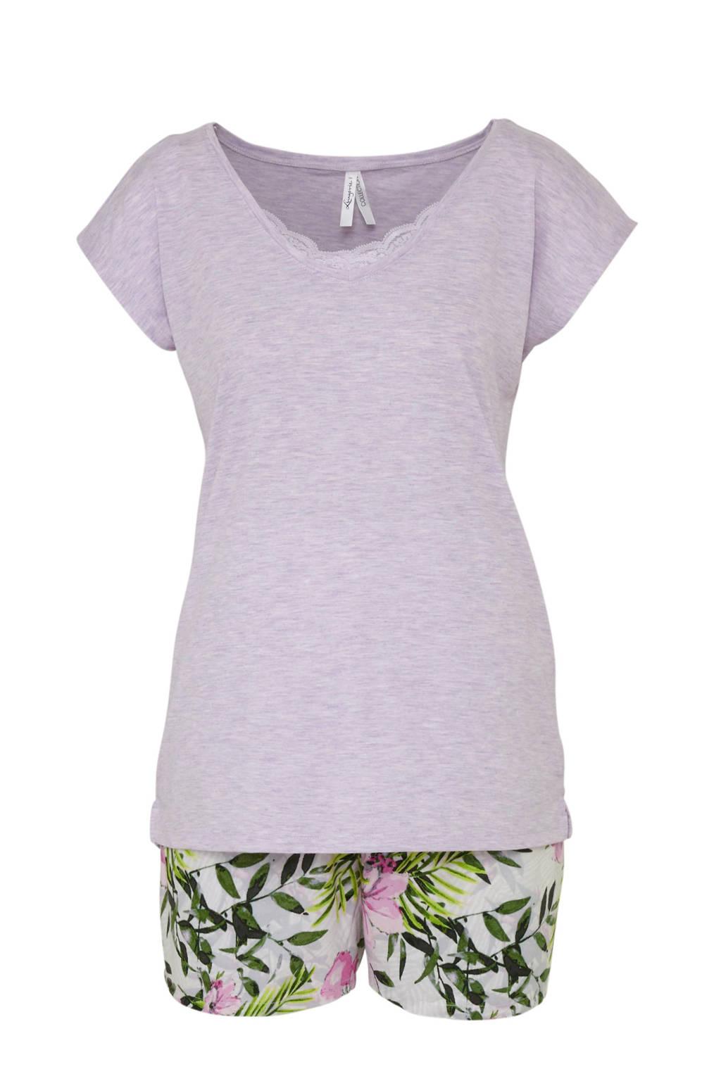 C&A shortama met printopdruk lila, Lila/groen/roze