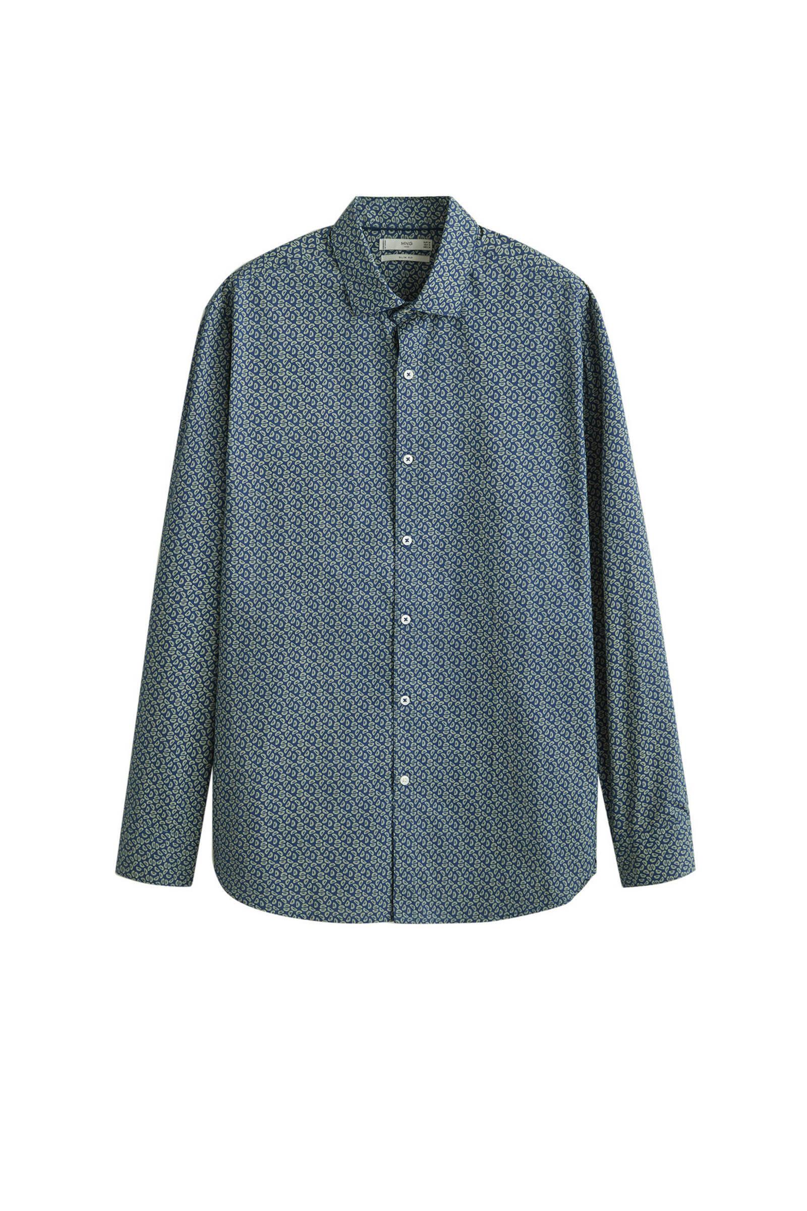 Mango Man slim fit overhemd donkerblauw   wehkamp