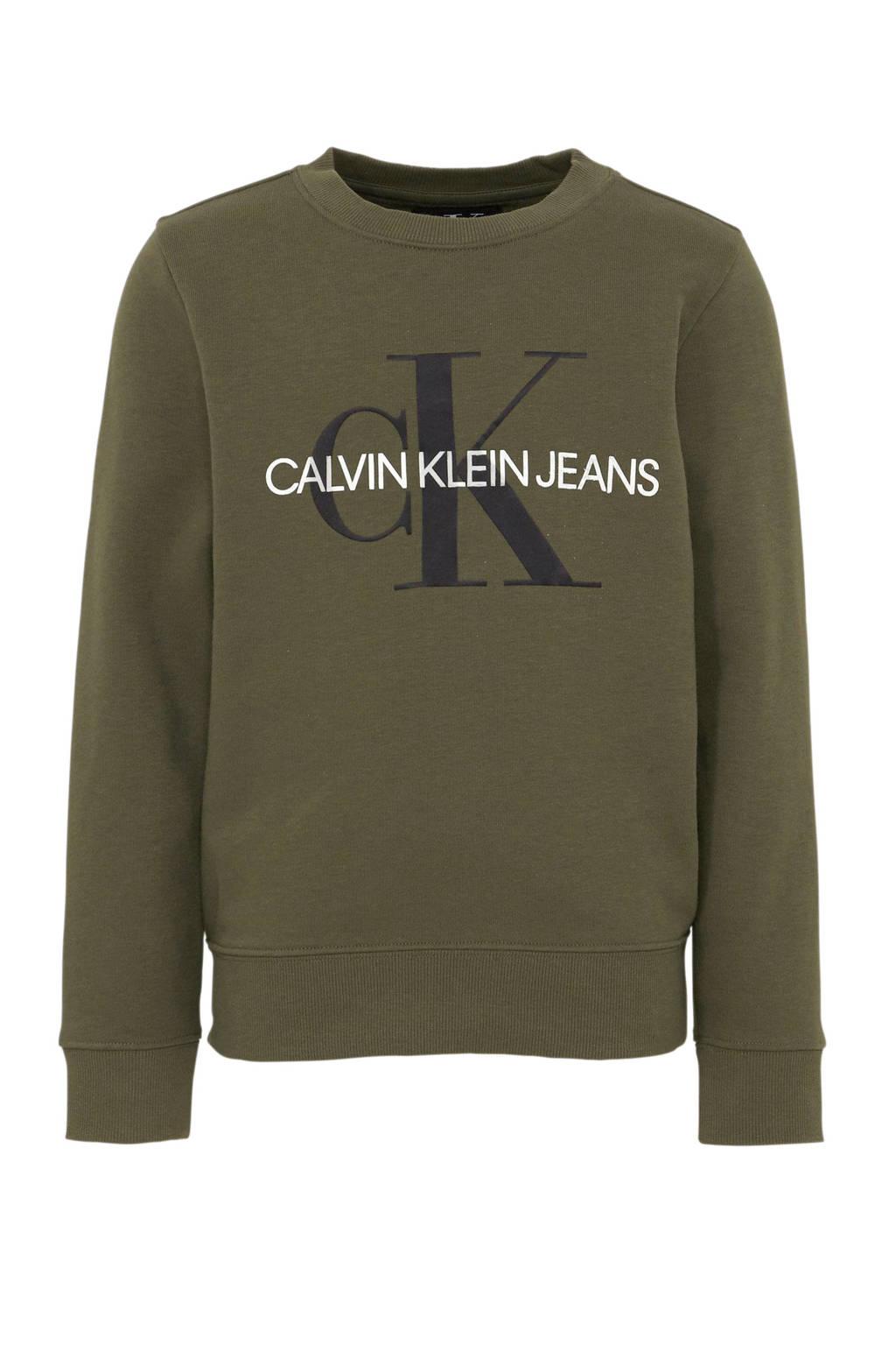 CALVIN KLEIN JEANS sweater met logo olijfgroen, Olijfgroen