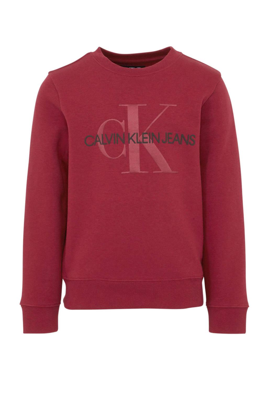 CALVIN KLEIN JEANS sweater met logo donkerrood, Donkerrood