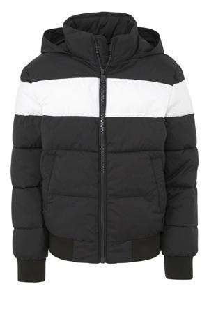 winterjas met logo zwart/wit