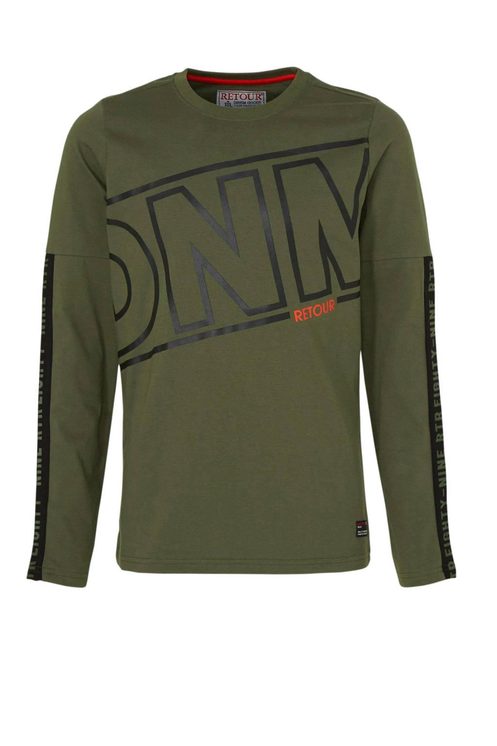 Retour Denim longsleeve Sjoerd met printopdruk army groen, Army groen
