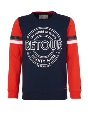 sweater Tuur met printopdruk donkerblauw/rood