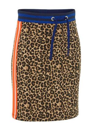 rok Wyteke met panterprint en contrastbies bruin/zwart/oranje