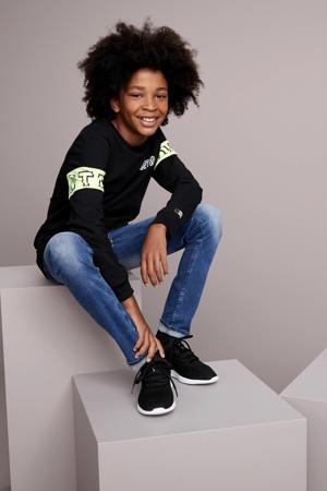 sweater Matz met all over print zwart/lichtgeel