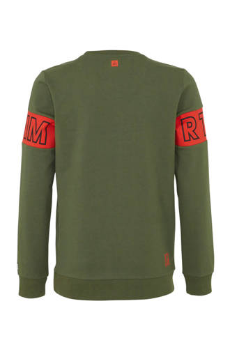 sweater Matz met all over print army groen/rood