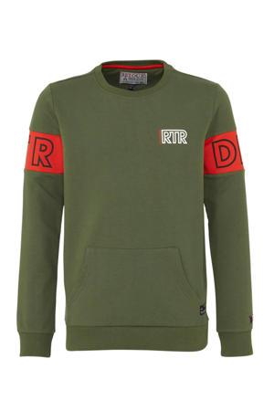 sweater Matz army groen/rood