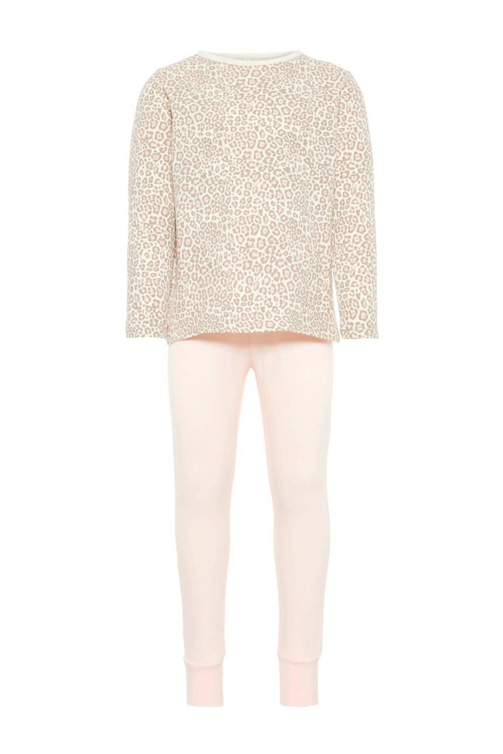 NAME IT MINI pyjama met panterprint, Lichtroze
