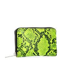 Sacha portemonnee met slangenprint neon, Neongeel/Zwart