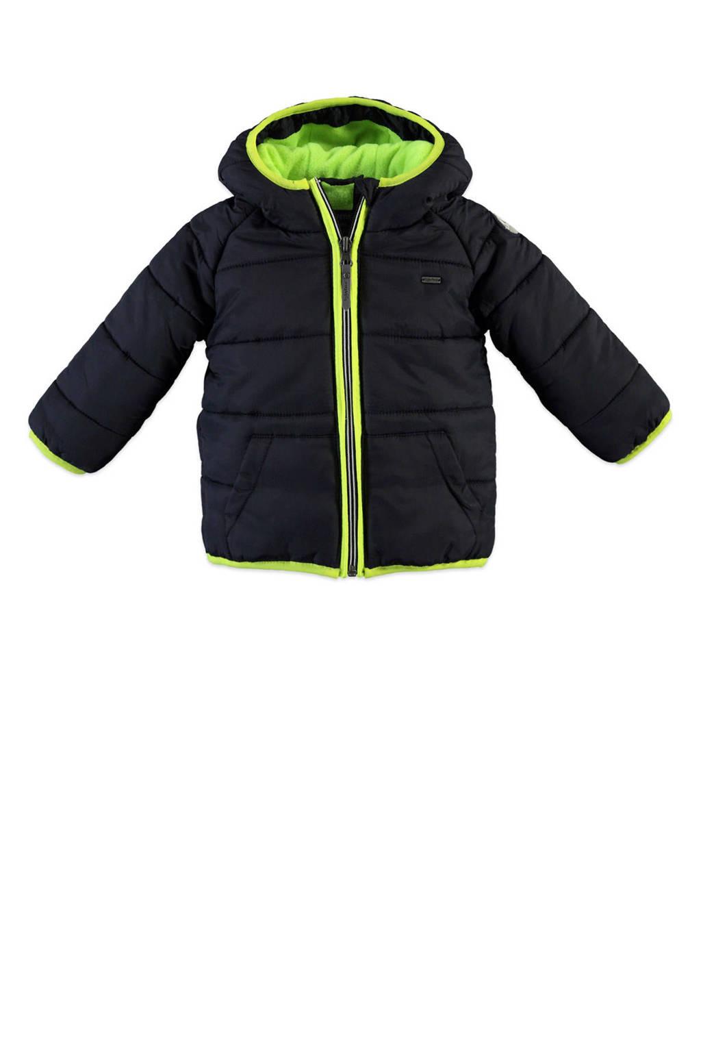 Babyface winterjas donkerblauw/neon geel, Donkerblauw/neon geel