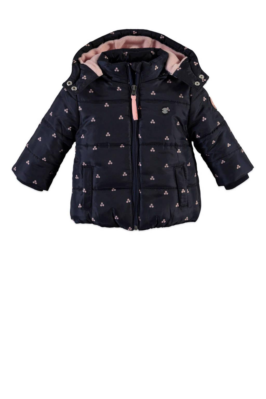 Babyface winterjas met all over print donkerblauw/roze, Donkerblauw/roze