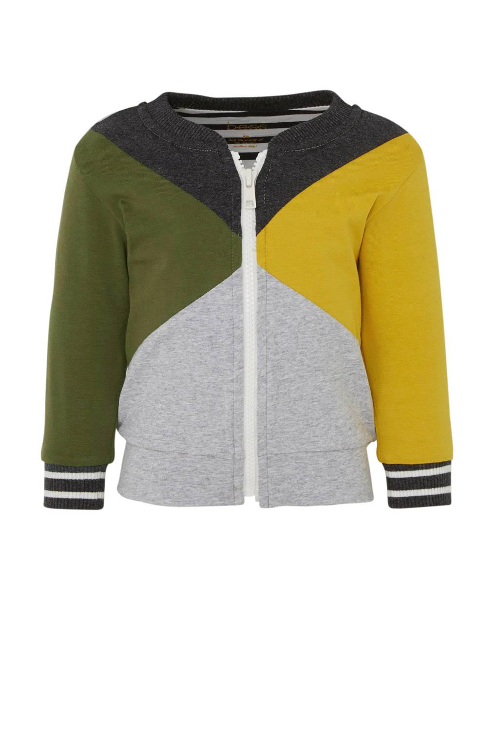 B.E.S.S baby omkeerbaar vest grijs/groen/geel, Grijs/groen/geel