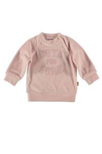 B.E.S.S baby fluwelen sweater met tekst lichtroze, Lichtroze