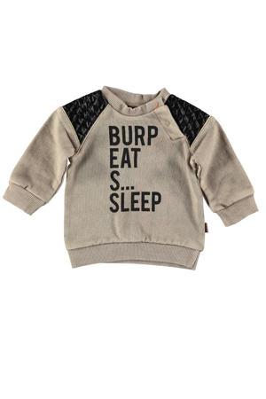 B.E.S.S baby sweater met tekst en 3D applicatie beige/zwart