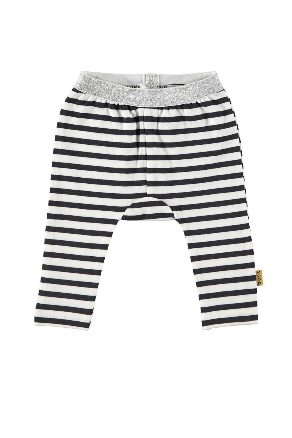 B.E.S.S baby gestreepte legging wit/ antraciet/ grijs, Wit/ antraciet/ grijs