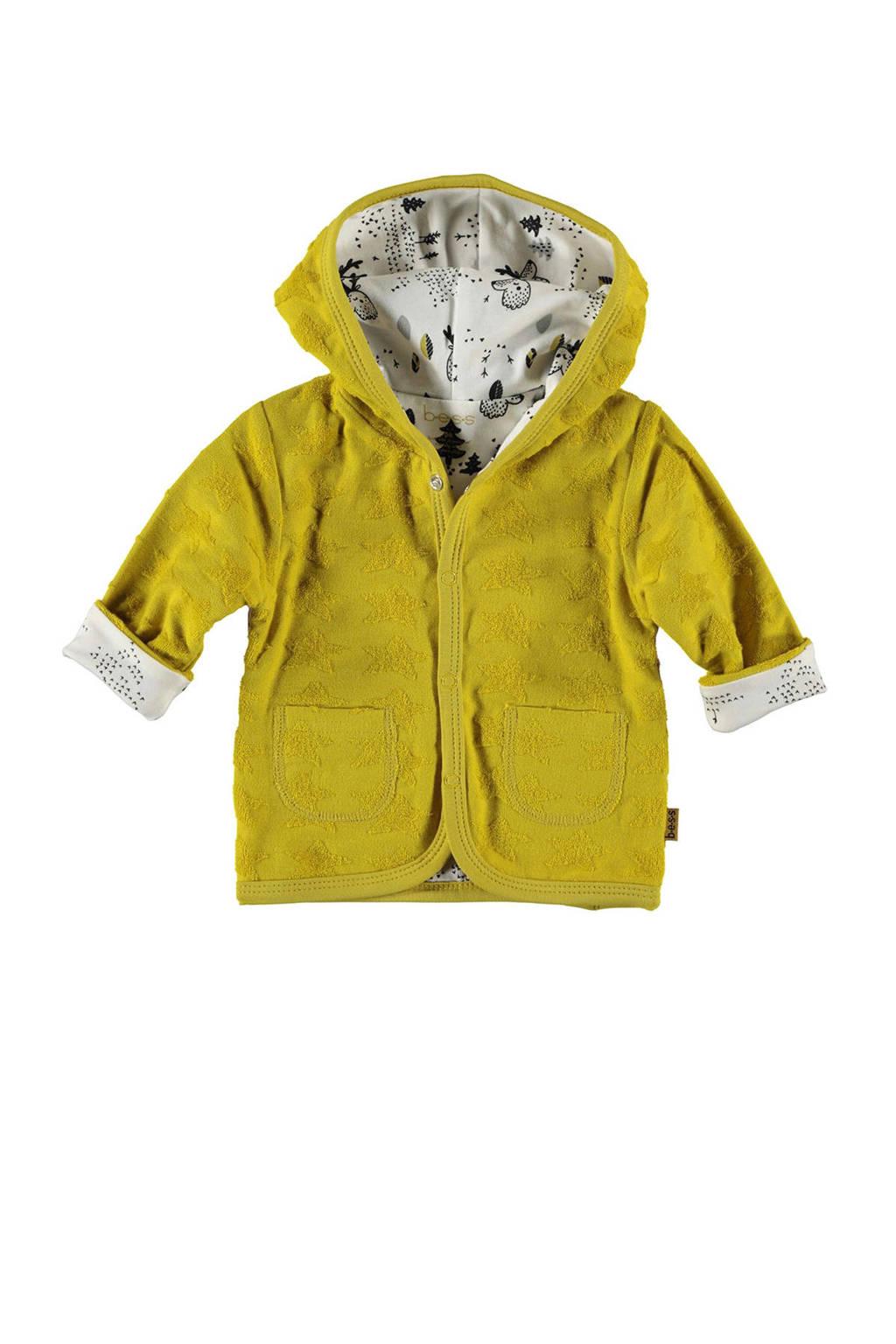 B.E.S.S omkeerbaar vest met all over print en textuur geel, Geel