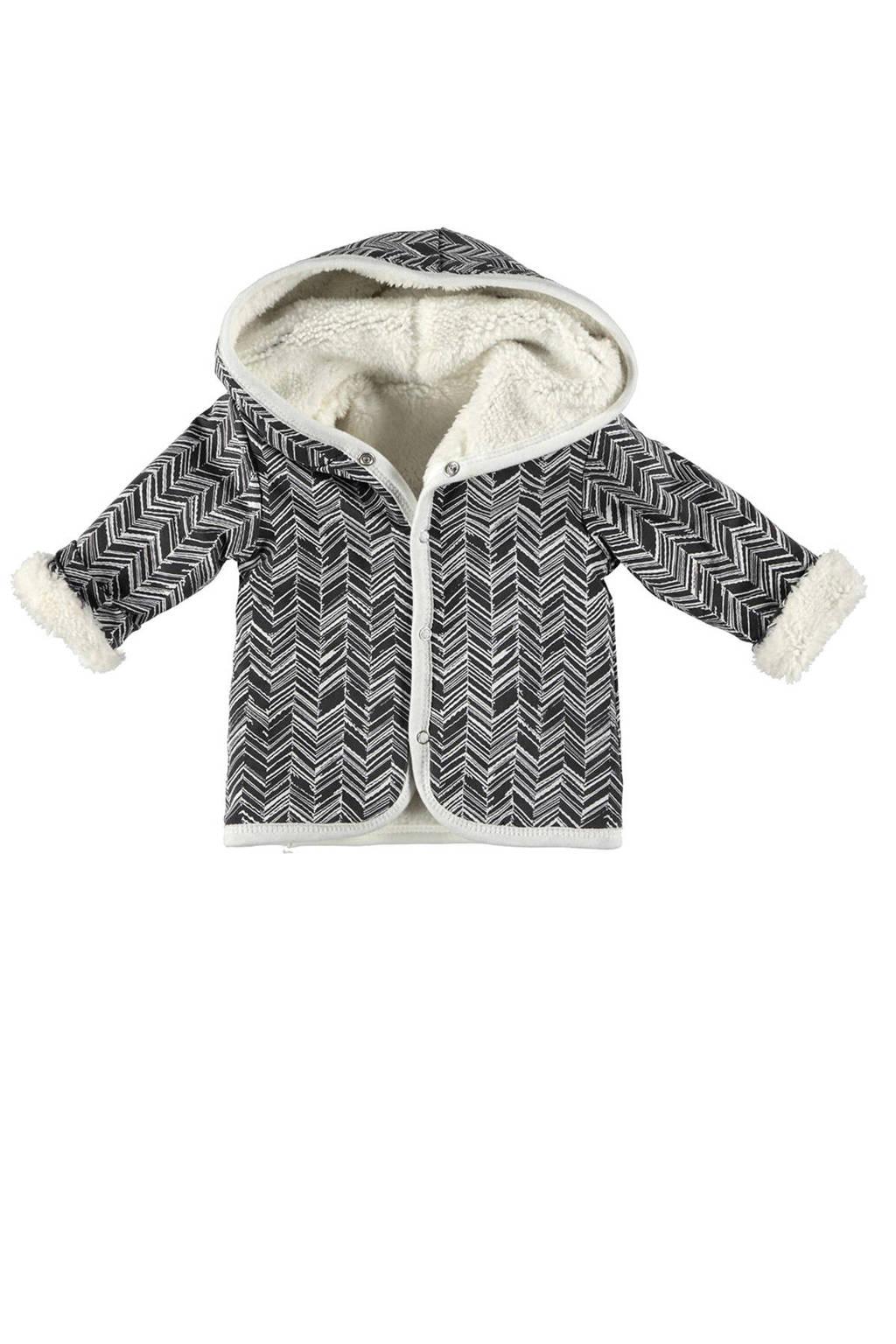B.E.S.S baby winterjas met all over print zwart/wit, Zwart/wit