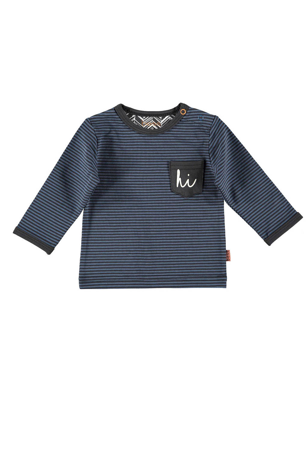 B.E.S.S baby gestreepte longsleeve donkerblauw/zwart, Donkerblauw/zwart