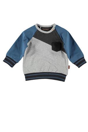 B.E.S.S baby sweater met all over print grijs/blauw/donkergrijs
