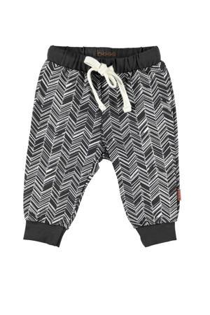 B.E.S.S   joggingbroek met grafische print zwart/wit