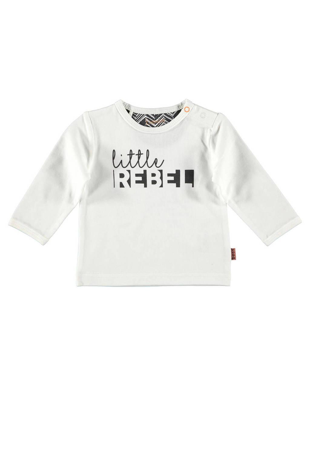 B.E.S.S baby longsleeve met printopdruk wit/zwart, Wit/zwart