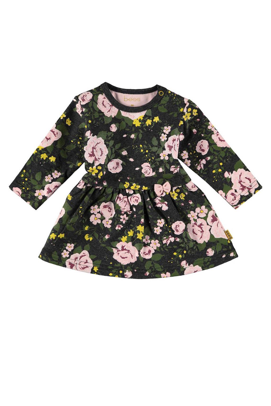 B.E.S.S gebloemde jersey jurk donkergroen/roze, Donkergroen/roze