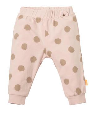 B.E.S.S baby joggingbroek met stippen lichtroze/beige