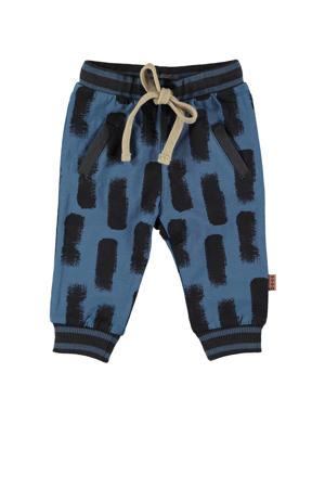 B.E.S.S baby skinny broek met all over print blauw/zwrat
