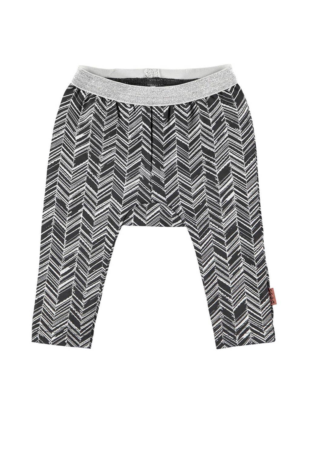 B.E.S.S baby legging met all over print zwart/grijs, Zwart/grijs