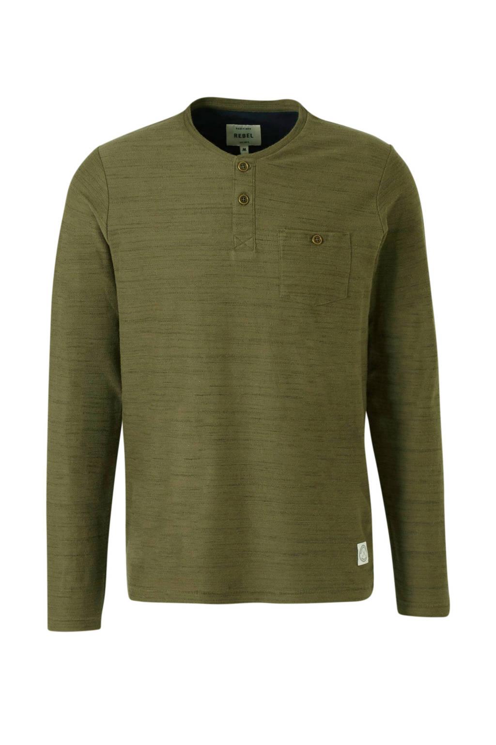 Redefined Rebel gemêleerd T-shirt olijfgroen, Olijfgroen