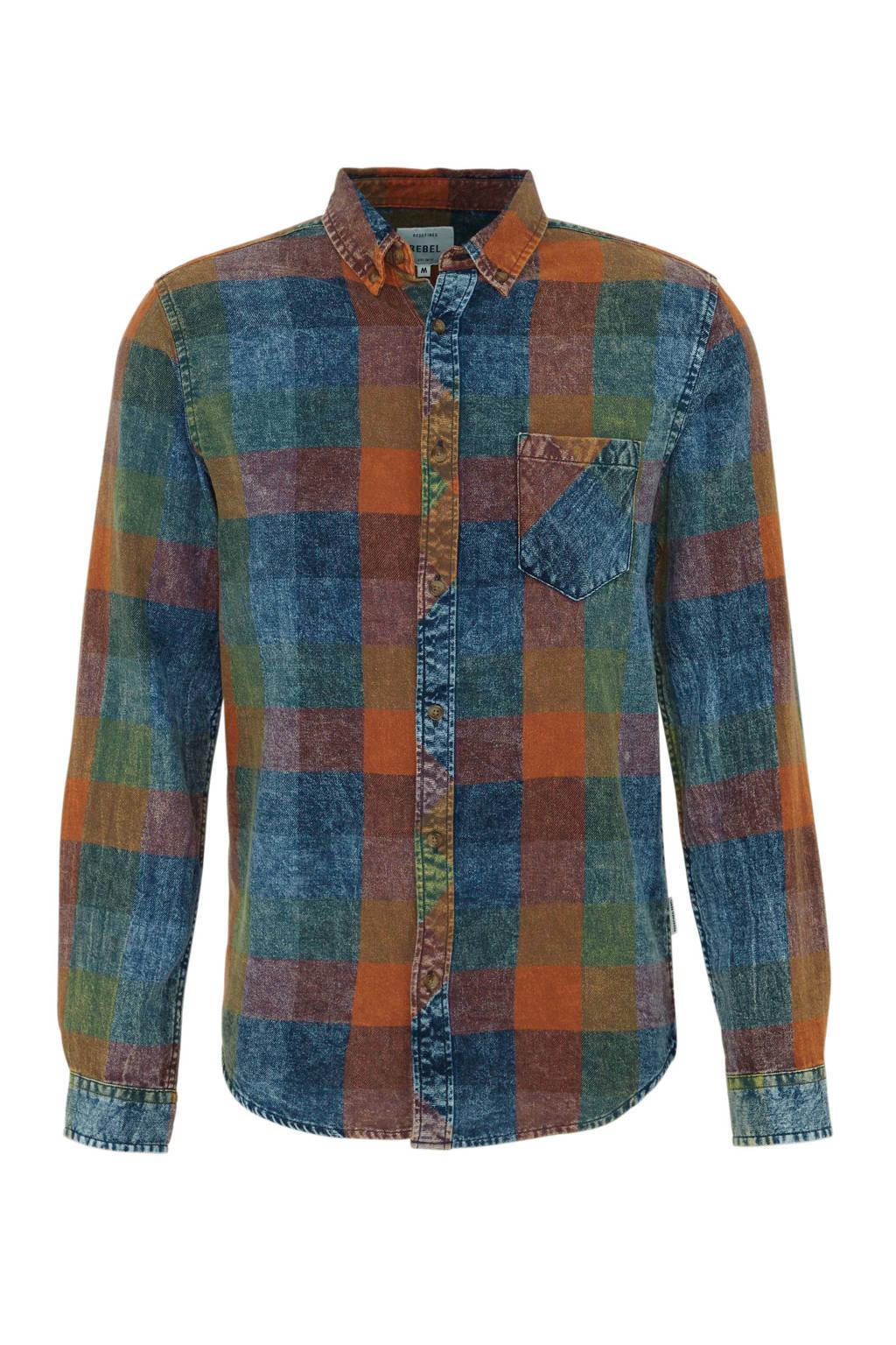 Redefined Rebel regular fit overhemd blauw/multi-kleuren, Blauw/multi-kleuren