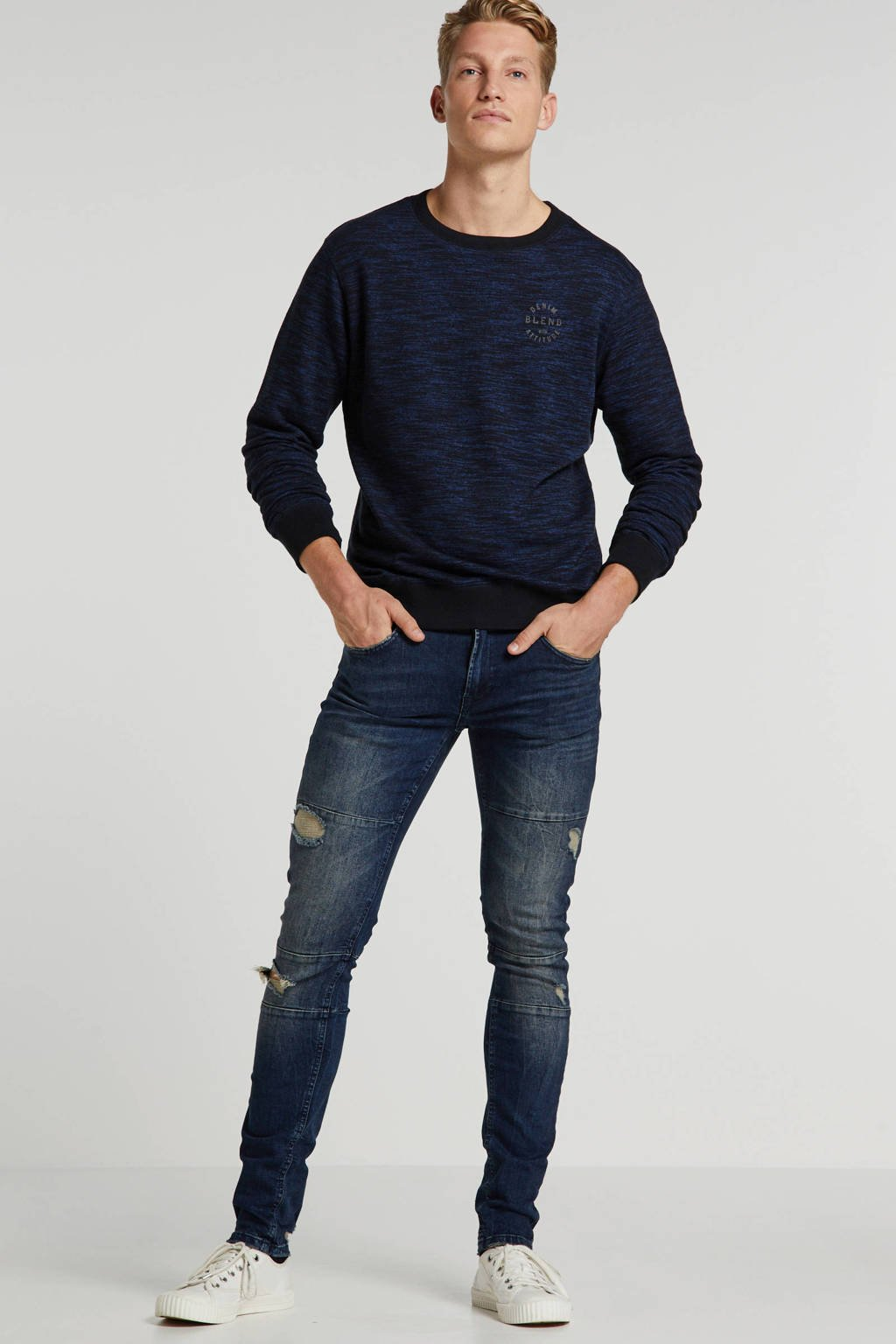 Redefined Rebel slim fit jeans Stockholm Cut Destory met slijtage malgony blue, Malgony Blue