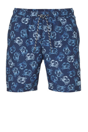zwemshort met all over krabben print blauw
