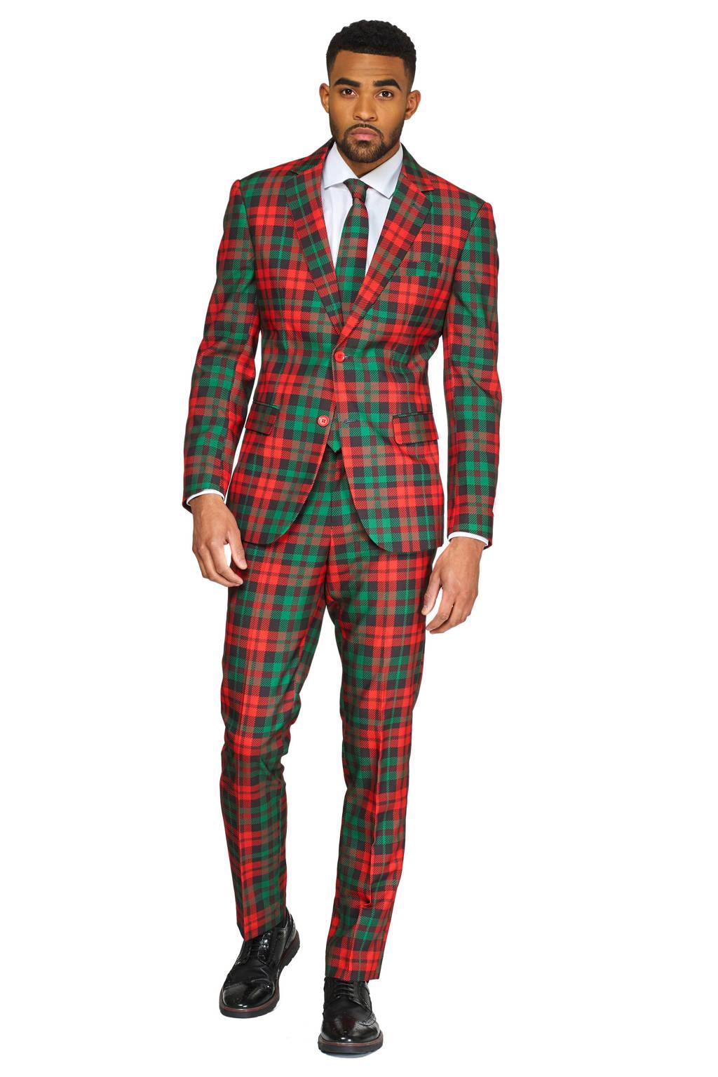 Opposuits slim fit kostuum met all over print rood/groen, Rood/groen